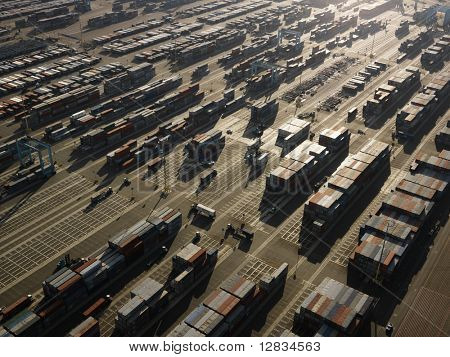 Aerial view of cargo containers in Los Angeles, California.
