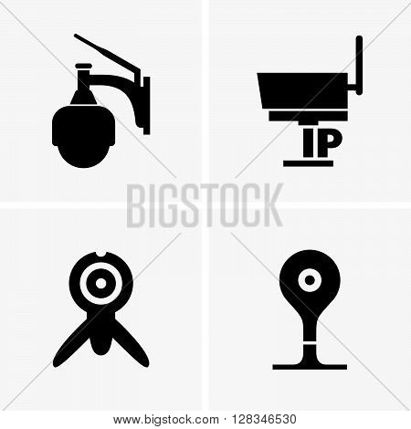 Set of four ip camera on grey background