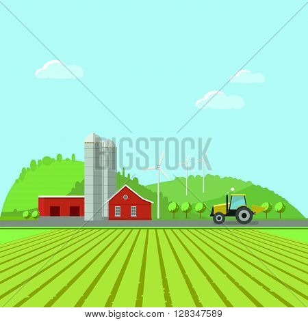 Rural landscape environment. Flat design vector illustration concept.Eco tourism. Eco tourism.Rural tourism.Farming fields. Eco-tourism