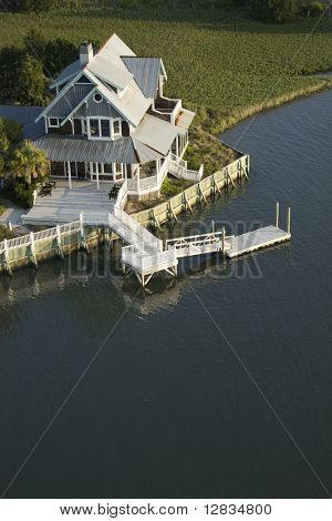 Aerial view of waterfront home on Bald Head Island, North Carolina.