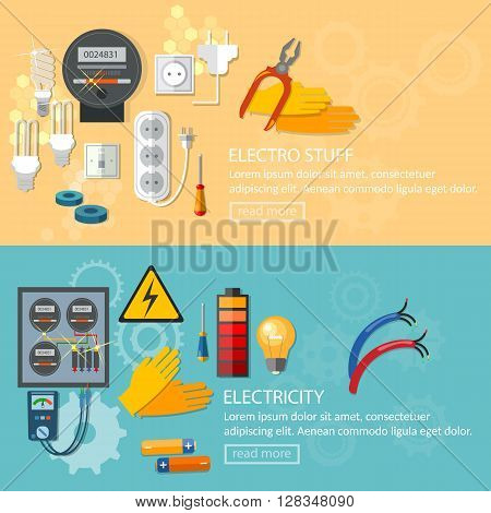 Electricity banners installation of electric meter electrician tools vector illustration