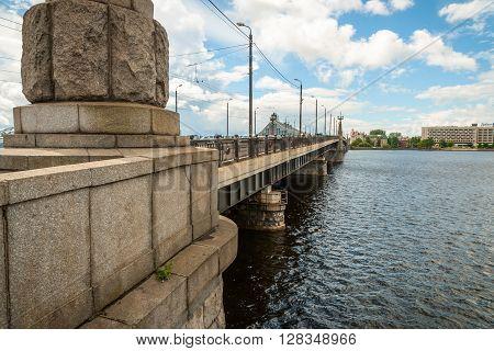 Akmens Bridge Over Daugava River In Riga, Latvia