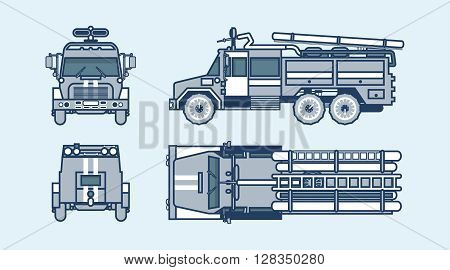 Set stock vector illustration isolated red fire engine top, front, side, back view line style blue background Element info graphic, website, icon