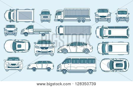 Set stock vector illustration yellow car hatchback, delivery truck, light truck with trailer, minibus, sedan top, front, side view line style gray background Element info graphic, website, icon