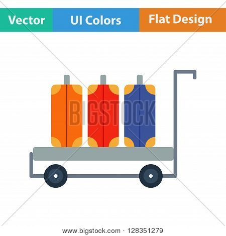 Flat Design Icon Of Luggage Cart