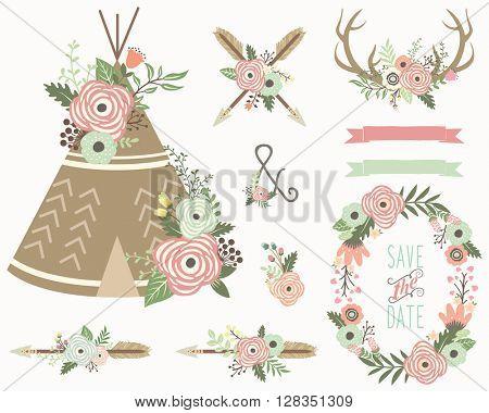 Floral Tribal Elements