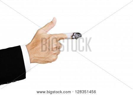 Hand pointing finger with burn out cigarette at finger, concept of  harmful of cigarette poster