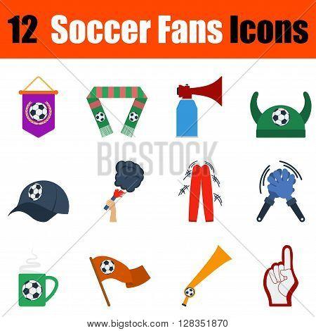 Flat Design Football Fans Icon Set