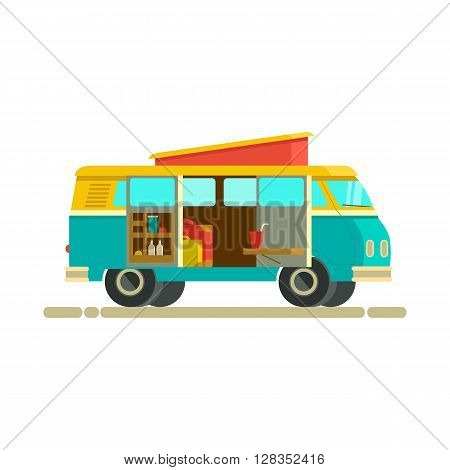 Vector illustration retro camper van.The journey by car. Small camper van with with accessories. Retro camper van luggage. Car for the whole family. Car family isolated