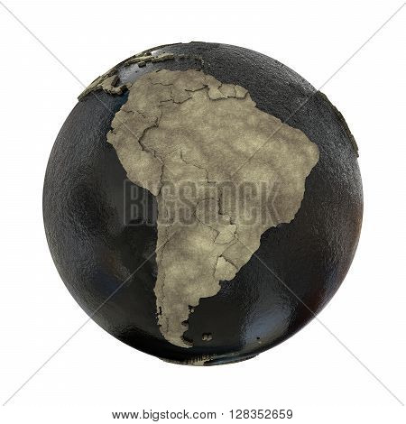 South America On Earth Of Oil