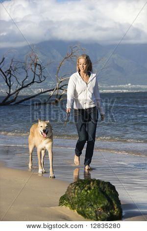 Caucasian woman walking brown dog on leash on Maui, Hawaii beach.