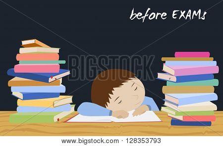 Tired schoolboy sleeping on books. Examination test preparation. Exam student stress. Night before exams. Cartoon vector.