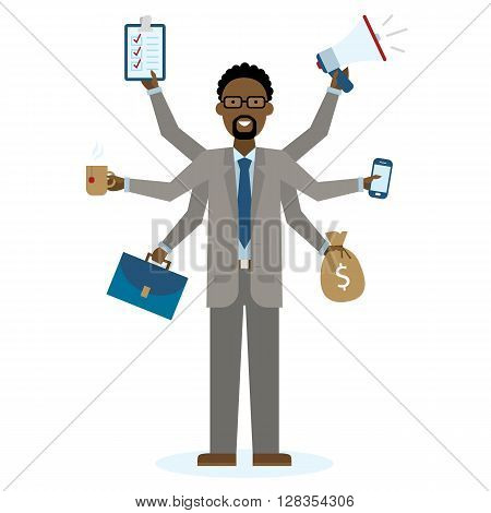 Multitasking african american businessman with six hands standing on white background. Successful businessman. Workaholic. Talented and professional. Leadership.