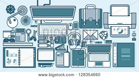 Set stock vector illustration isolated office supplies, gadgets, stationery on desktop in line style white background element info graphics, websites, icons, games, video, Motion Design