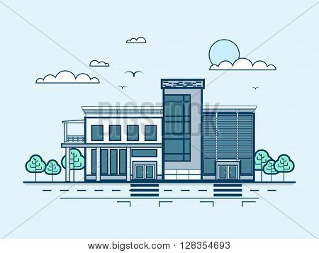Stock vector illustration city street with administrative building, modern architecture in line style element for infographic, website, icon, games, motion design, video
