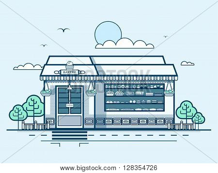 Stock vector illustration city street with bakery, modern architecture in line style element for infographic, website, icon, games, motion design, video
