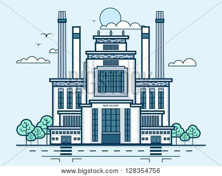 Stock vector illustration city street with brewery, modern architecture in line style element for infographic, website, icon, games, motion design, video