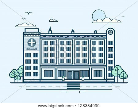 Stock vector illustration city street with contemporary multistorey hospital, modern architecture in line style element for infographic, website, icon, games, , video