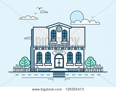 Stock vector illustration city street with pizzeria, modern architecture in line style element for infographic, website, icon, games, motion design, video