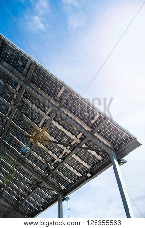 Solar battery view from below against clear blue sky on a spring day