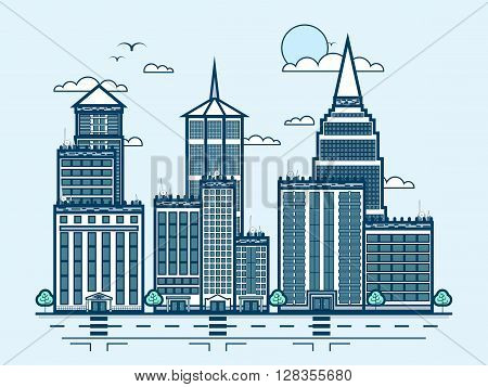 Stock vector illustration city street with skyscraper, multistorey building, modern architecture in line style element for infographic, website, icon, games, motion design, video