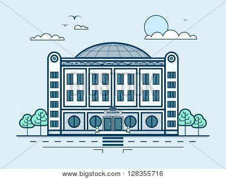 Stock vector illustration city street with SPA center, modern architecture in line style element for infographic, website, icon, games, motion design, video