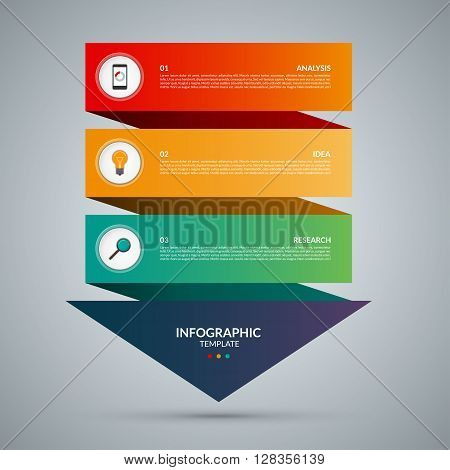 Arrow infographic concept. Vector template with 3 options parts stages buttons. Can be used for web, diagram, graph, presentation, chart, report, step by step infographics. Abstract background.