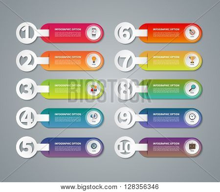 Set of infographic numbered banners. One, two, three, four, five, six, seven, eight, nine, ten options parts steps stages processes. Vector template with business icons and design elements