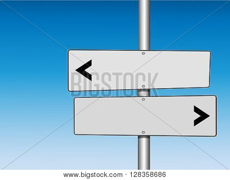 Two Panel White Directional Road Signs pointing at opposite directions