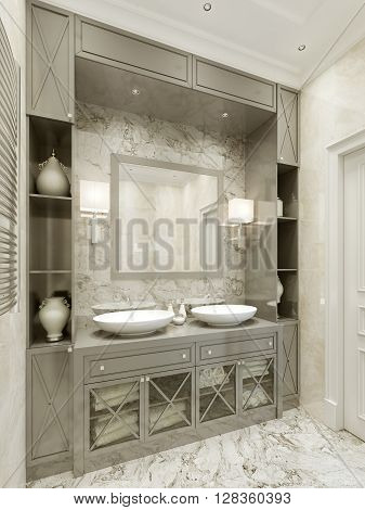 Bathroom Avant-garde style, luxury furniture. 3d render