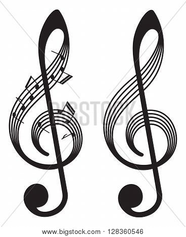abstract musical elements vector music element with clefs and notes isolated on white background treble clefs