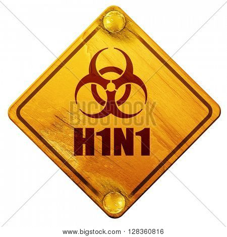 H1N1 virus concept background, 3D rendering, isolated grunge yel