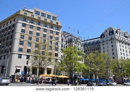 WASHINGTON, DC - APR 15: W Washington D.C. in USA, as seen on Apr 15, 2016. It is an artsy, modern hotel housed in a storied 1917 beaux arts building.