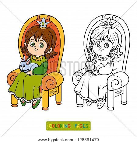 Coloring Book, Princess Seated On A Throne
