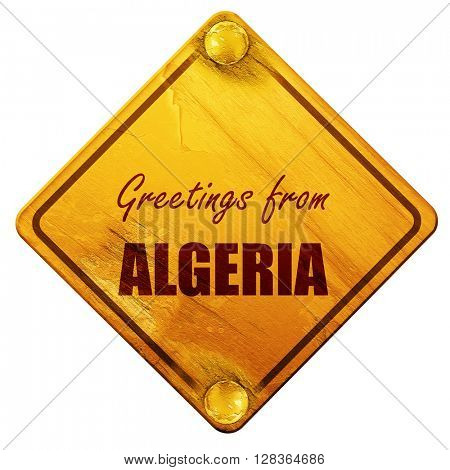 Greetings from algeria, 3D rendering, isolated grunge yellow roa
