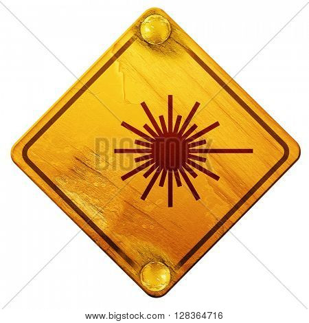 Laser warning sign, 3D rendering, isolated grunge yellow road si