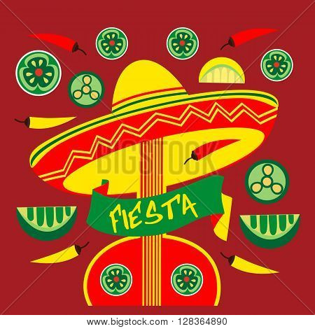 Mexican Fiesta party advertisement. Holiday vector poster. Cinco de mayo. Design idea to advertise fiesta party in Mexico. Template for fiesta decoration. Vector illustration