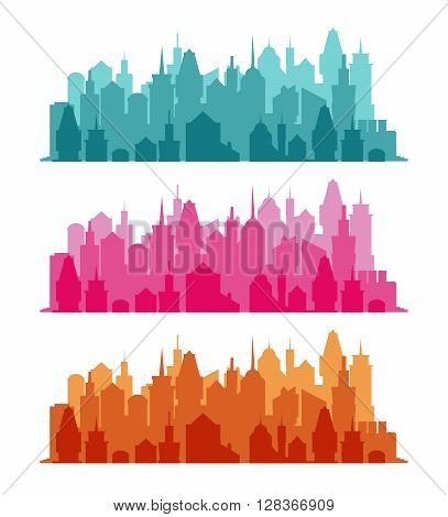 Set of cityscape colorful background. Skyline silhouettes. Luxury architecture. Medieval castles and modern urban landscape. Horizontal banner with megapolis panorama. Building icon.