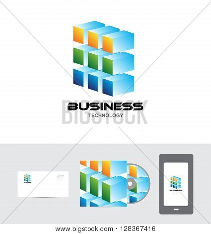 Vector company cd cover phone tablet logo icon element template business corporate technology 3d tech