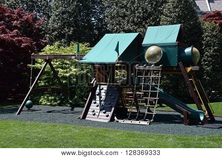 WASHINGTON, DC - APR 17: Malia and Sasha Obama's swing set at the White House in Washington, DC, as seen on April 17, 2016. It is the official residence and workplace of the President of USA.