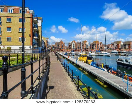 The moorings and embankment in harbor. Sovereign Harbour Marina Eastbourne East Sussex England