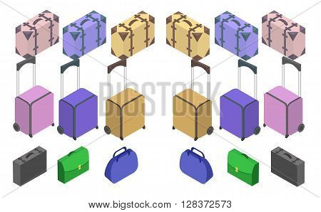 Travelers suitcases. The objects are isolated against the white background. Suitcase, large polycarbonate suitcase. Travel plastic suitcase with wheels realistic. Flat 3d Vector isometric illustration.