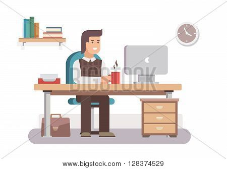 Office worker. Business work, desk and workplace, employee man, businessman, workflow and workspace. Flat vector illustration