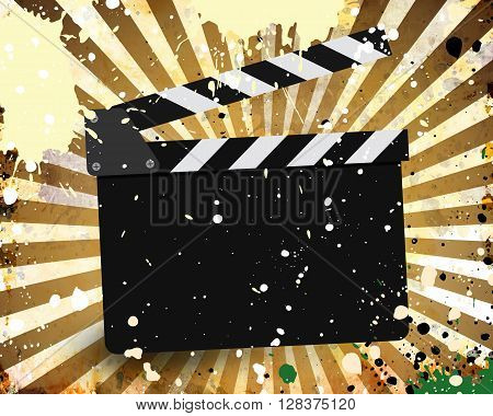 Movie Clapperboard On A Grunge