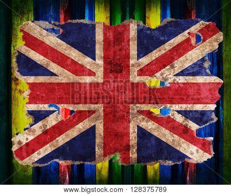 England Flag In Form Of Torn Vintage Paper