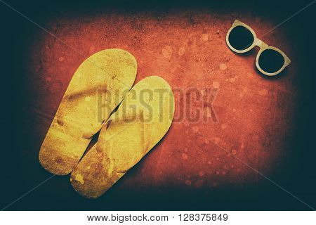 Yellow Flip Flops And Sunglasses