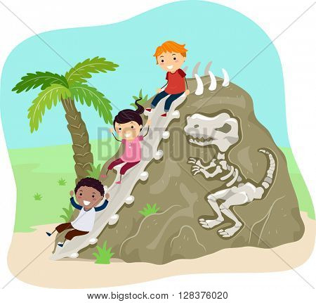 Stickman Illustration of Kids Sliding Down a Rock with Fossils Embedded on It