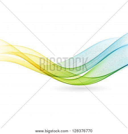 Abstract motion smooth color wave vector. Curve green and blue  lines