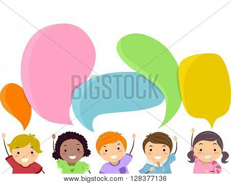 Stickman Illustration of Kids with Speech Bubbles Hovering Over Their Heads