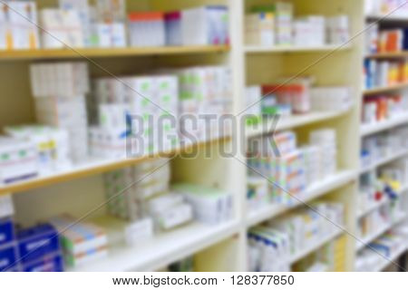 Pharmacy Store Drugs Shelves Interior Blurred Background
